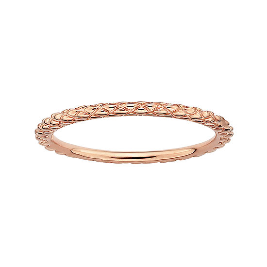 Personally Stackable 18K Rose Gold Over Sterling Silver 1.5mm Criss-Cross Ring