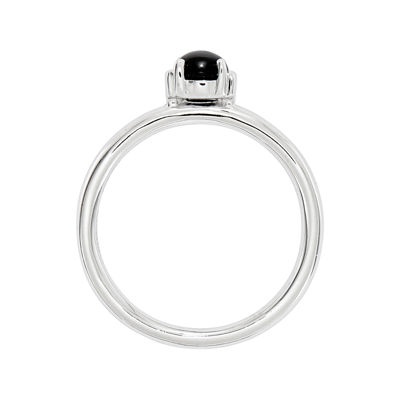 Personally Stackable Sterling Silver Black Agate Stackable Ring