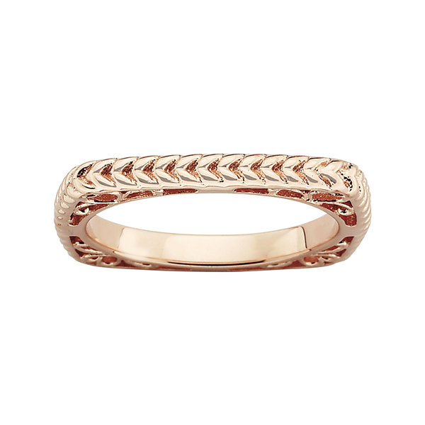 Personally Stackable 18K Rose Gold Over Sterling Silver Textured Square Ring