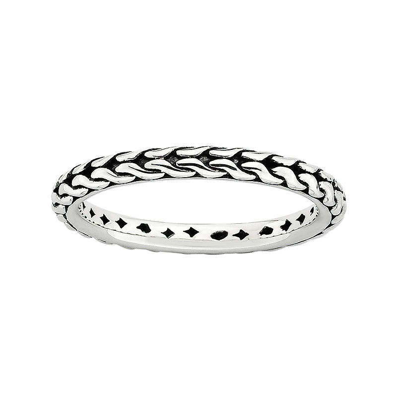 image of Personally Stackable Sterling Silver Oxidized Stackable Ring-pp5004560096