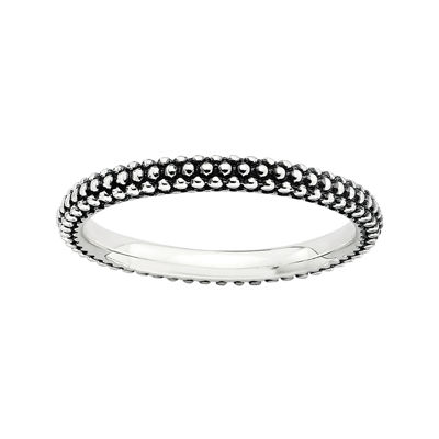 Personally Stackable Sterling Silver Oxidized Stackable Beaded Ring