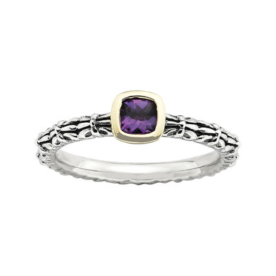 Personally Stackable Genuine Amethyst Oxidized Two-Tone Stackable Ring