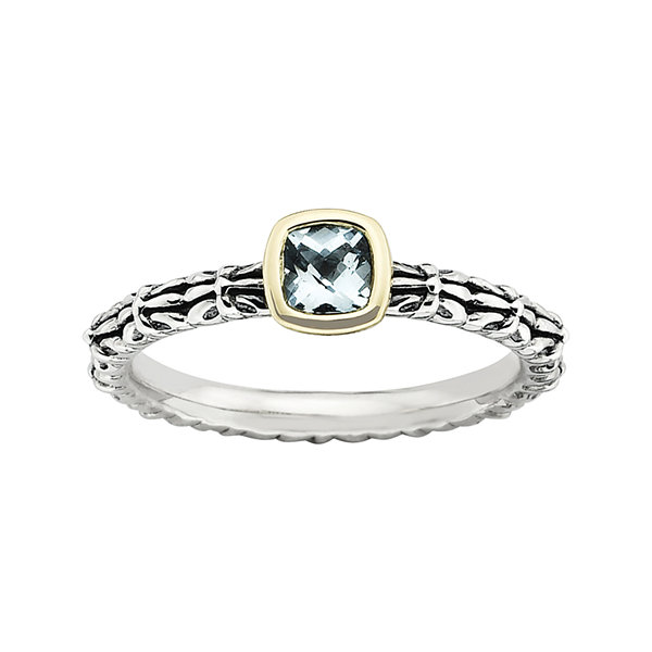Personally Stackable Genuine Aquamarine Oxidized Two-Tone Stackable Ring