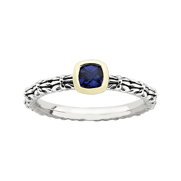Personally Stackable Lab-Created Sapphire Oxidized Two-Tone Stackable Ring