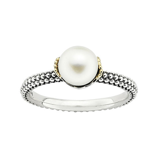 Personally Stackable Cultured Freshwater Pearl Two Tone Stackable Ring