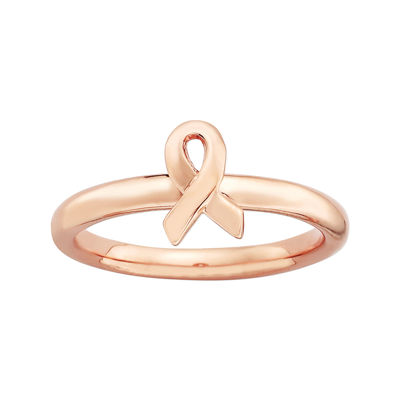 Personally Stackable 18K Rose Gold Over Sterling Awareness Ribbon Ring