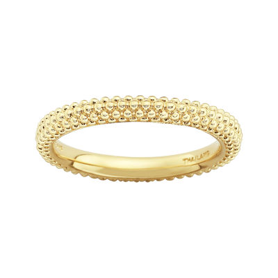 Personally Stackable 18K Yellow Gold Over Sterling Silver Beaded Dome Ring