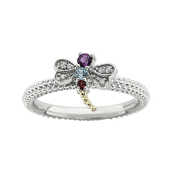 Personally Stackable Gemstone & Diamond-Accent Beaded Dragonfly Ring