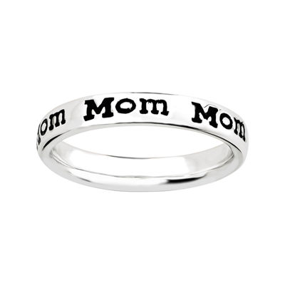 "Personally Stackable Sterling Silver Stackable ""Mom"" Ring"