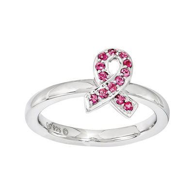 Personally Stackable Pink Crystal Stackable Awareness Ribbon Ring