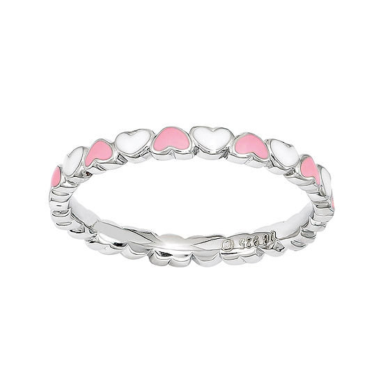 Personally Stackable Pink & White Enamel Stackable Heart Ring