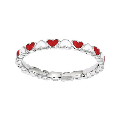 Personally Stackable Red & White Enamel Stackable Heart Ring