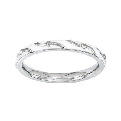 Personally Stackable White Enamel Stackable Swirl Ring