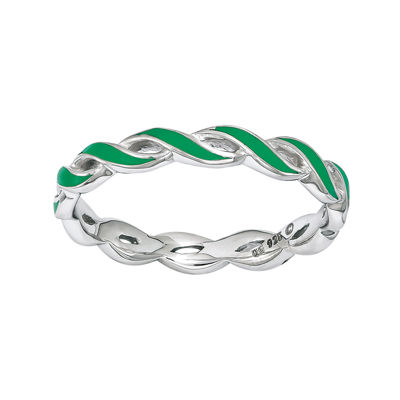 Personally Stackable Green Enamel Stackable Crossover Ring