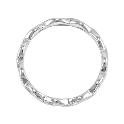 Personally Stackable White Enamel Stackable Crossover Ring