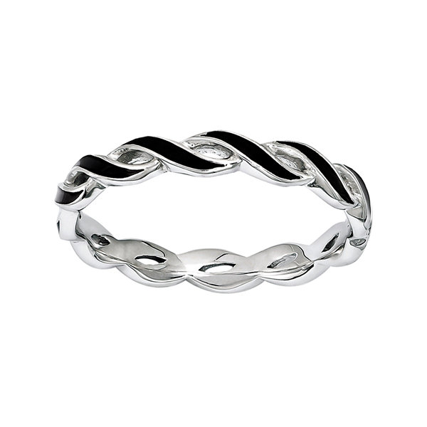 Personally Stackable Black Enamel Stackable Crossover Ring