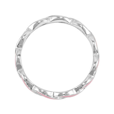 Personally Stackable Pink Enamel Stackable Crossover Ring