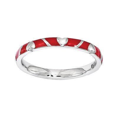 Fine Jewelry Personally Stackable Sterling Silver Red Enamel Heart Ring CDtCjftQ0