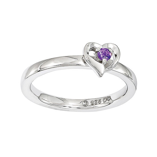 Personally Stackable Sterling Silver Amethyst Heart Ring