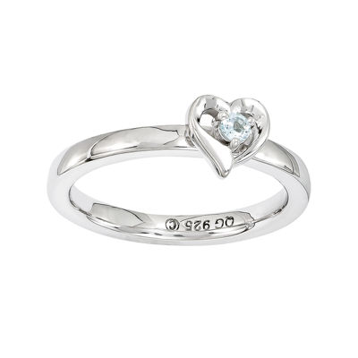 Personally Stackable Sterling Silver Aquamarine Heart Ring