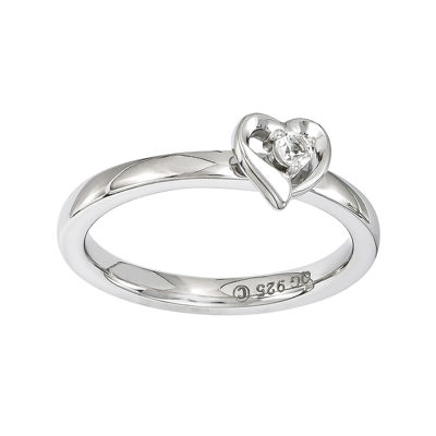 Personally Stackable Sterling Silver White Topaz Heart Ring