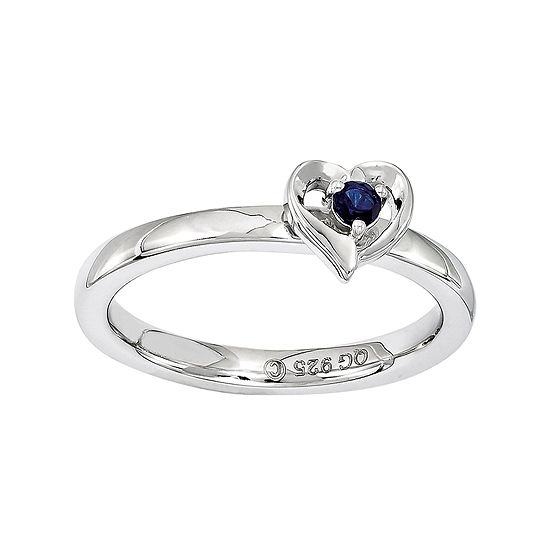 Personally Stackable Sterling Silver Lab-Created Blue Sapphire Heart Ring