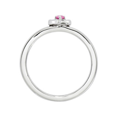 Personally Stackable Sterling Silver Lab-Created Pink Sapphire Heart Ring