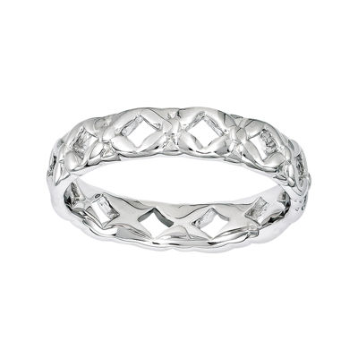 Personally Stackable Sterling Silver Carved Ring