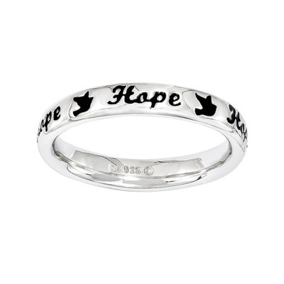 "Personally Stackable Sterling Silver Black Enamel ""Hope"" Ring"