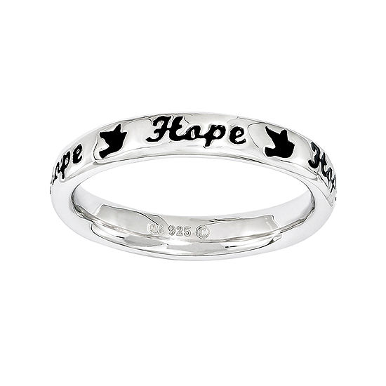 Personally Stackable Sterling Silver Black Enamel Hope Ring