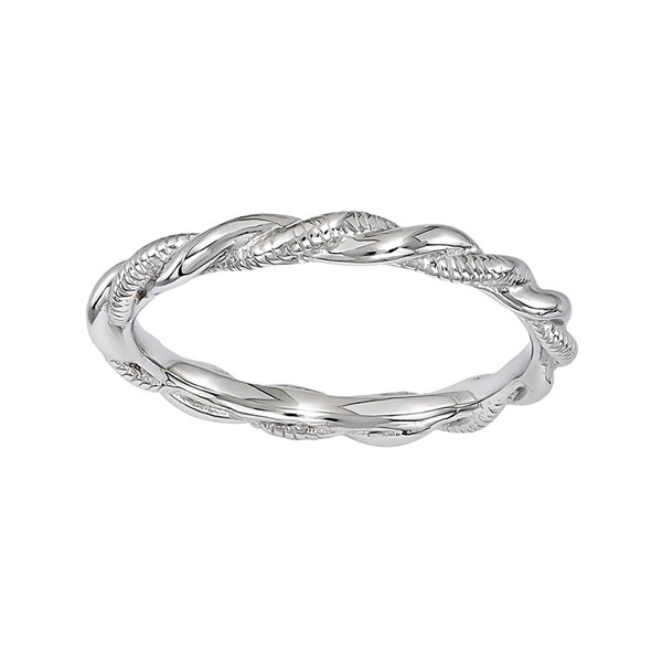 Fine Jewelry Personally Stackable Sterling Silver Stackable 1.5mm Step-Down Ring FdFFhmYV5