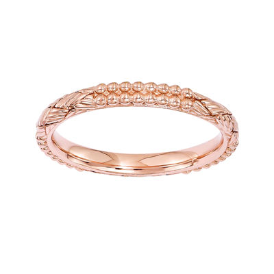 Personally Stackable 18K Rose Gold Over Sterling Silver Patterned Stackable Ring