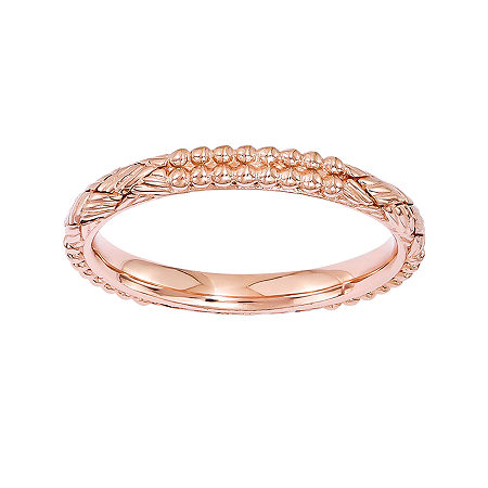 Personally Stackable 18K Rose Gold Over Sterling Silver Patterned Stackable Ring, 7