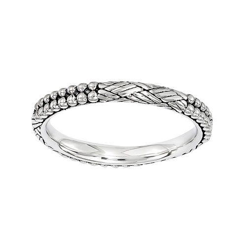 Personally Stackable Sterling Silver Antique Patterned Stackable Ring