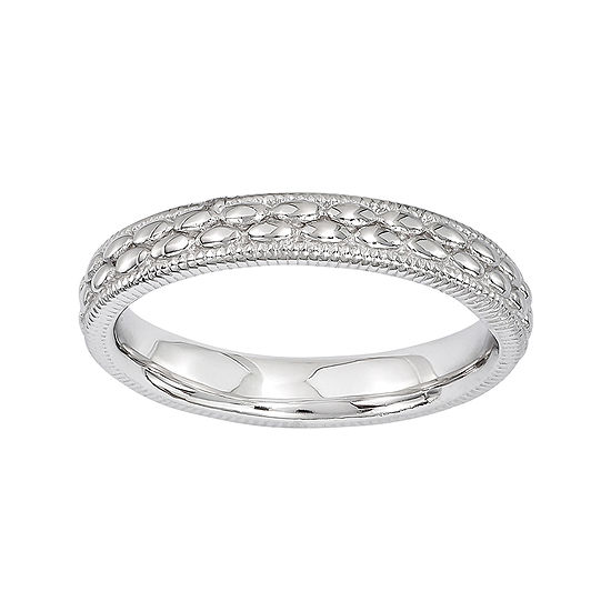 Personally Stackable Sterling Silver Double Patterned Ring