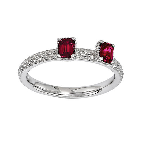 Personally Stackable Lab-Created Ruby Sterling Silver 2-Stone Stackable Ring
