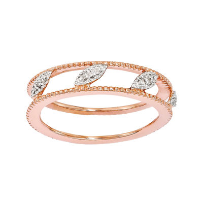 Stackable Expressions Sterling Silver Rose Gold Plated Diamond
