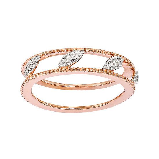 Personally Stackable Diamond Accent 18k Rose Gold Over Sterling Silver Ring