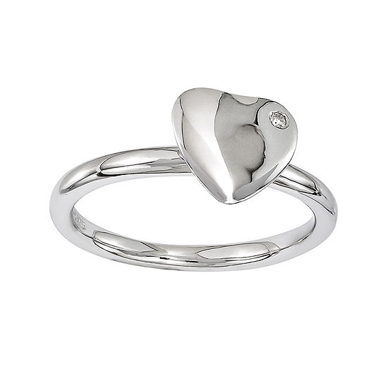 Personally Stackable Diamond-Accent Sterling Silver Heart Stackable Ring