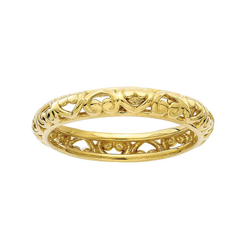 Personally Stackable 18K Yellow Gold Over Sterling Silver Carved Stackable Ring
