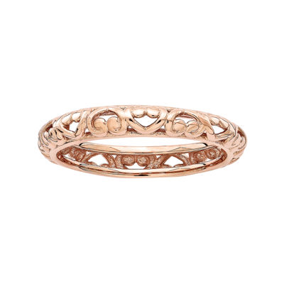 Personally Stackable 18K Rose Gold Over Sterling Silver Carved Stackable Ring