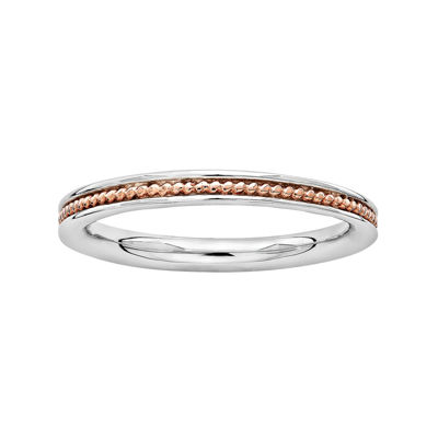 Personally Stackable 18K Rose Gold Over Sterling Silver Channel Stackable Ring