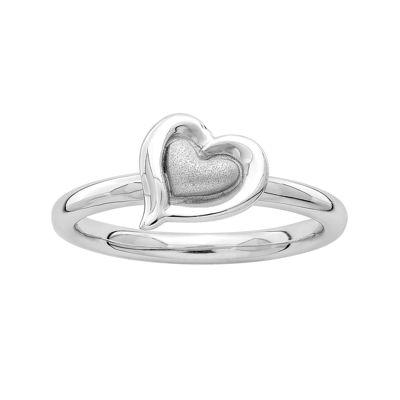 Personally Stackable Sterling Silver 2-Heart Stackable Ring