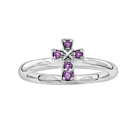 Personally Stackable Genuine Amethyst Sterling Silver Cross Stackable Ring