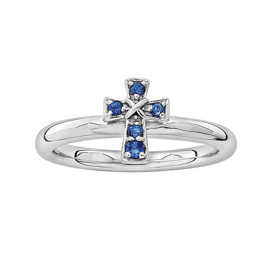 Personally Stackable Lab-Created Sapphire Sterling Silver Cross Stackable Ring