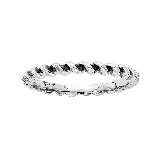 Personally Stackable Antiqued Sterling Silver Twirl Stackable Ring