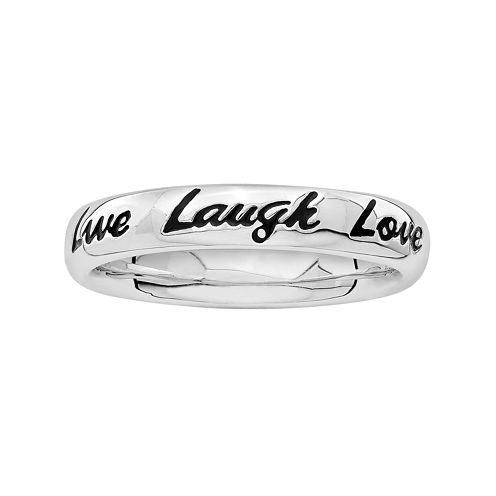 Personally Stackable Sterling Silver Enamel Live Laugh Love Stackable Ring