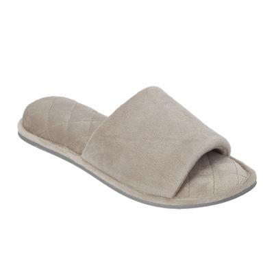 Dearfoams® Womens Microfiber Velour Open-Toe Slippers