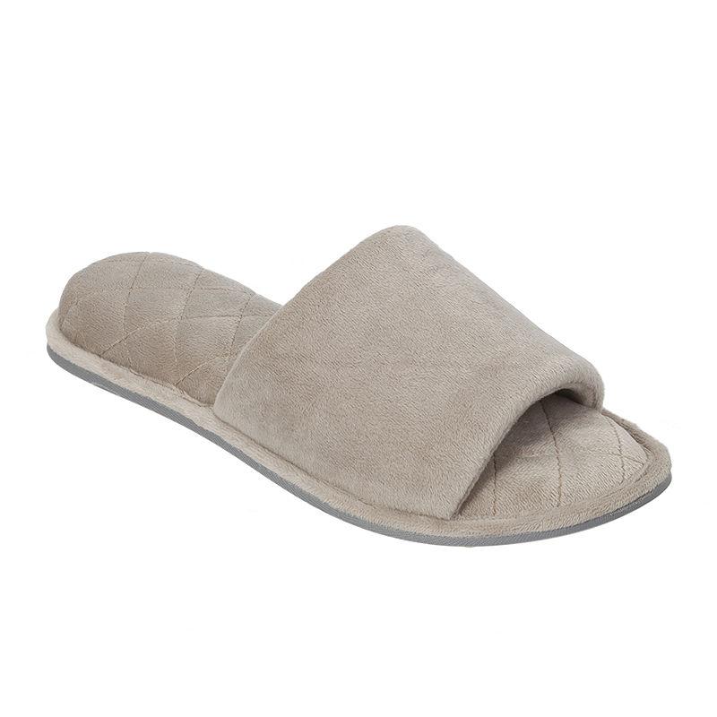 Dearfoams Womens Microfiber Velour Open-Toe Slippers plus size,  plus size fashion plus size appare