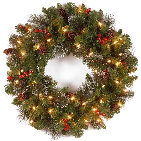 "National Tree Company® 24"" Crestwood Spruce Pre-Lit Wreath"